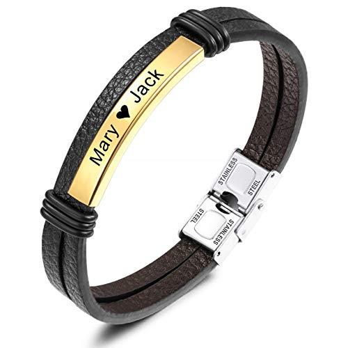 MeMeDIY Name Armband Personalisierte Armbänder für Frauen Armbänder für Jungen Männer Mädchen Edelstahl Echtes Leder Gravur Geflochtene Manschette Einstellbar (Gold Ton Etikett)
