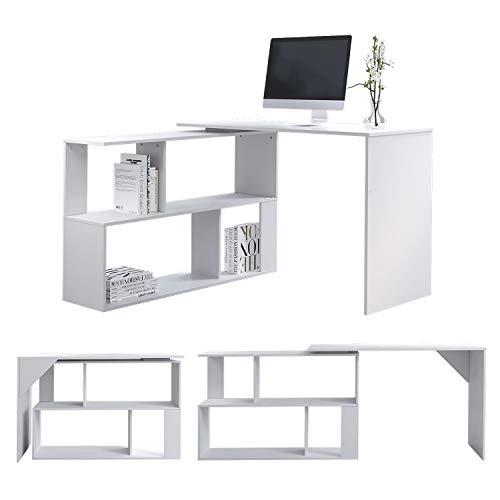 L-Shape Computer Desk with Shelves Storage,Wood Corner Desk Rotatable Office Desk Workstation PC Gaming Desk Study Table for Home(White)