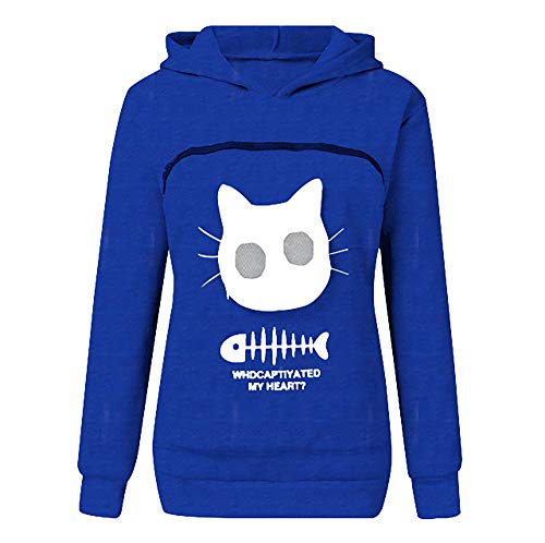 Women's Fluffsy Cat and Dog Pouch Hoodie Unisex Pet Carrier Shirts - Animal Hood Breathable Pullover Sweatshirt (Azul,M)