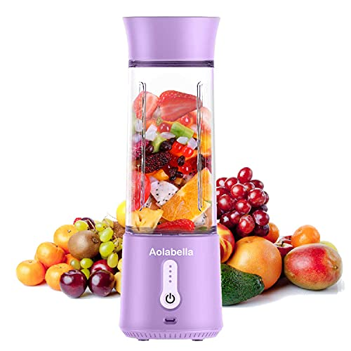 Portable Blender, Personal Size Eletric USB Juicer Cup, Fruit, Smoothie, Baby Food Mixing Machine with Updated 6 Blades,Magnetic Secure Switch for Superb Mixing 500ml (Violet)