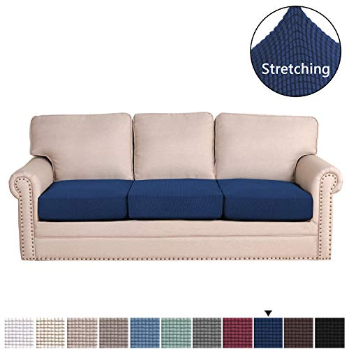 H.VERSAILTEX Super Stretch Stylish Cushions Covers/Furniture Cover Spandex Jacquard Small Checked Pattern Super Soft Slipcover Washable Individual (3-Piece Sofa Cushion, Navy)