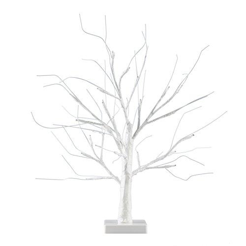MiniSun – Decorativa lampara de mesa de estilo bonsai blanco - 24 luces LED blanco calido y 450mm de alto