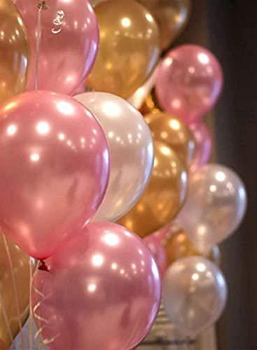Party Propz Pink Golden White Metallic Latex Balloons Pack-51Pcs for Girls Kids Women Birthday, Baby Shower, Unicorn, Princess,...