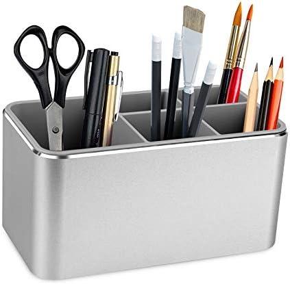 Aluminum Alloy Pen Pencil Holder 5 Slots Pencil Organizer Cup for Countertop Desk Vanity Countertops product image