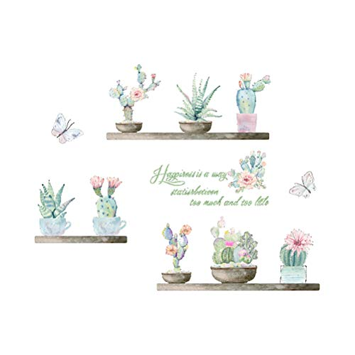 VORCOOL Flor de Cactus Mariposa Pegatinas de Pared para Sala de Estar decoración de la Cama Tatuajes en casa Planta de Bricolaje Arte Mural