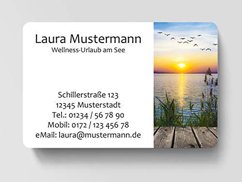 100 Visitenkarten, laminiert, 85 x 55 mm, inkl. Kartenspender - Natur Sommer Urlaub