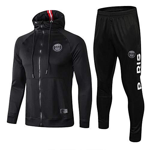 yijingerp 2020 Neue Fußballuniform Gift Boy Langarm Fußballuniform Fußballfan Sportuniform Anzug Fußball Hoodie Herren (schwarz) -XL- 68-schwarz_M.