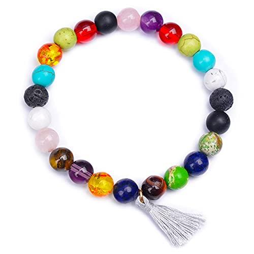 QXPDD Pulsera de piedras naturales de 8 mm con colgante de borla de cristal Colorfyl pulsera elástica para hombres y mujeres