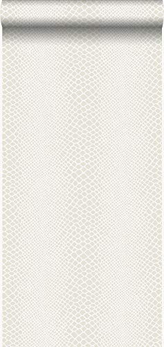 behang slangenprint wit - 347338 - van Origin - luxury wallcoverings