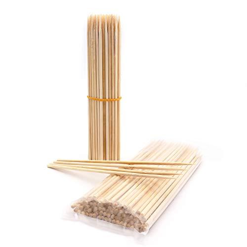 Shengi Spieße aus natürlichem Bambus, 20,3 cm, 4 mm dick, halbe Spitze, Karamell, Süßigkeiten, Apfel, Mais, Hot Dog, Garten, 100 Stück