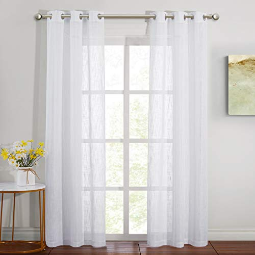 NICETOWN Bedroom Sheer Curtains 84 inch Long, Grommet White Linen Semi Sheer Curtains Privacy with Light Through Window Dressings for Living Room/Flat, 34 inch Wide, 1 Pair