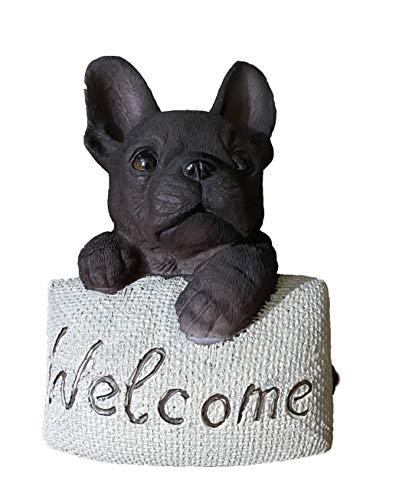 Französische Bulldogge Figur Hund Dekofigur aus Kunstharz 13 cm (schwarz)