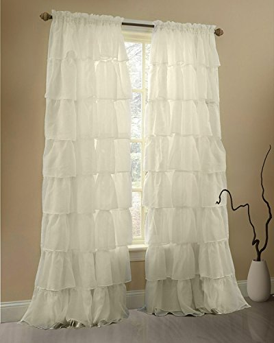 Gee Di Moda Cream Ruffle Curtains Gypsy Lace Curtains for Bedroom Curtains for Living Room - Cream 60x63 inch Ruffled Curtains for Kids Room Shabby Chic Curtain for Nursery Kids Curtains for Girls