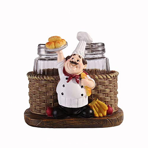 Huachaoxiang Salt Spire Cute Cook Statue, Statue Pepper Bottle Holder for Home Kitchen Decoration Salt and Spreader Mini Matted Cute Chef,2