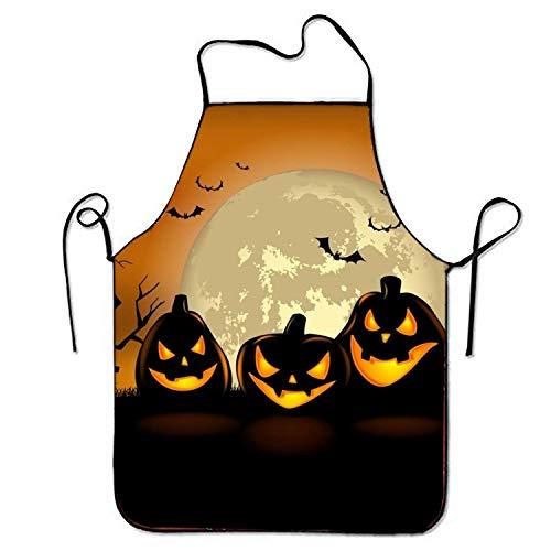 Jhonangel Delantal de Calabazas de Halloween para Hornear Artesana Jardinera Cocina Durable Limpieza fcil Babero Creativo para Hombre y Mujer Tamao estndar