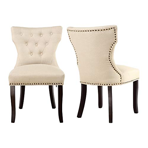 LSSBOUGHT Set of 2 Fabric Dining Chairs Leisure Padded Chairs with Brown Solid Wooden Legs,Nailed Trim, Tan