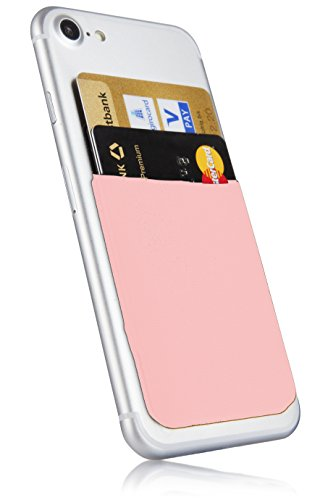 MyGadget Bolsillo Adhesivo para Funda Móvil - Portatarjetas de Crédito con Bloqueo RFID - Smartphone Card Holder - Estuche Porta Tarjetas - Rosado