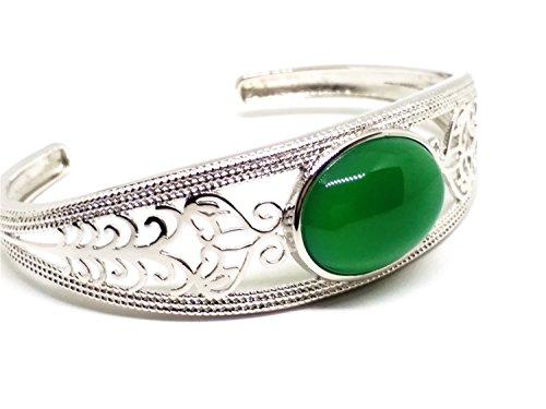 yigedan Armreif Sterling-Silber 925 grüner Jadestein Ellipse