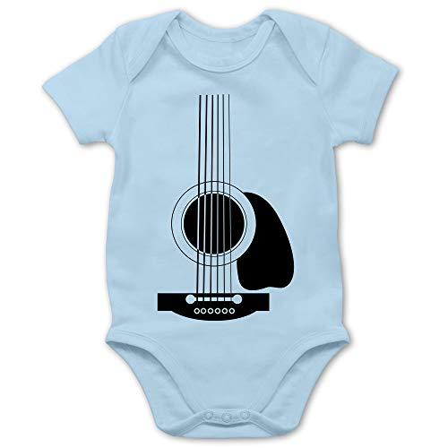 Shirtracer Baby Strampler Mädchen & Junge - Gitarren Body - 3/6 Monate - Babyblau - Baby Gitarre - BZ10 - Baby Body Kurzarm für Jungen und Mädchen