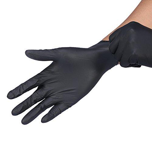 100 pcs Guantes desechables de látex sin polvo, talla S/M/L, color negro y azul...