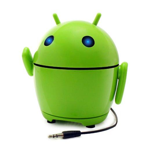 GOgroove Mini Lautsprecher/Nachtlicht für Kinder, kompatibel mit Smartphones von Apple & Android, oder auch mit PC's, Laptops & Tablets, modernes Design, PAL Bot Grün