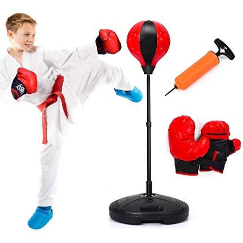 Punchingball Boxsack Punchingball 90-130cm höhenverstellbar, Kinder Boxset freistehend, Boxsack Set, Box Set inkl. Boxhandschuhe und Handpumpe, Standboxsack für Kinder und Jugend Boxball