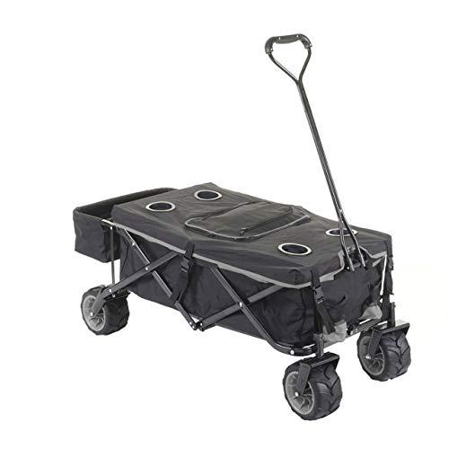 Mendler Faltbarer Bollerwagen HWC-E62, Handwagen, Geländereifen klappbar ~ mit Hecktasche/Abdeckung + Kühltasche schwarz/grau