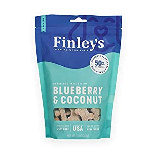 Finley's Blueberry Coconut Dog Biscuits Treats for Dogs Made in USA | Natural Blueberry Coconut Dog Treat | Wheat Free Dog Treats | Healthy Dog Treat Bags (12 oz)
