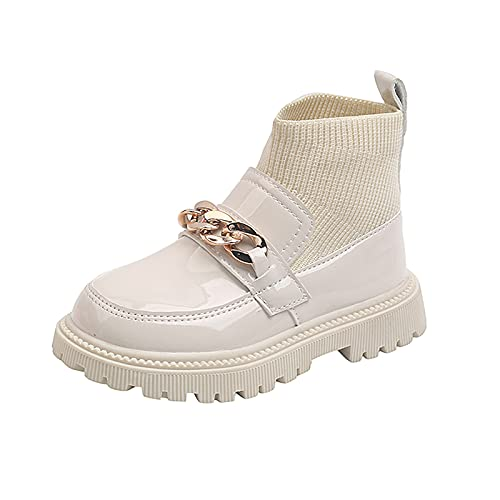 Zapatos de bebé con cadena de metal para niña y niños, botines de piel de patchwork, slip on para niños, beige, 36 cm