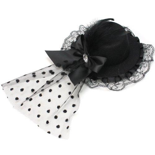 Pinzhi plumes extensions cheveux dentelle épingles à cheveux Mini Chapeau Tête Bijoux Punk Gothique (Noir)