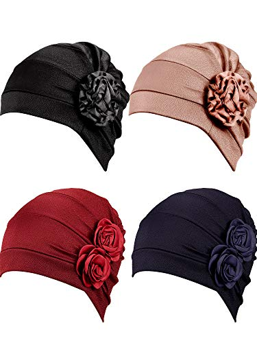 4 Pieces Turban Flower Head Wrap Beanie Scarf Cap Hair Loss Hat for Men and Women (Khaki, Black, Wine Red, Navy Blue)