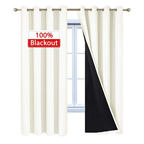 Yakamok 100% Blackout Curtains Thermal Insulated Curtain Panels with Black Liner for Bedroom, Heat Blocking Drapes for Living Room(52Wx96L, Cream, 2 Panels)