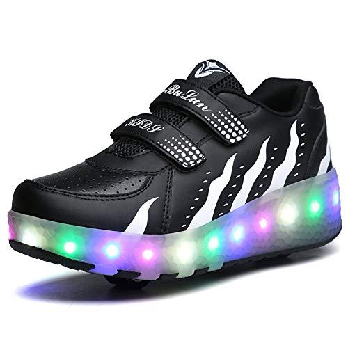 Bruce Wang Jungen Mädchen LED leuchten Doppelrad Roller Schuhe Draussen Sport AusbildungSkate-Turnschuhe (40 EU, Schwarz Weiß 028)