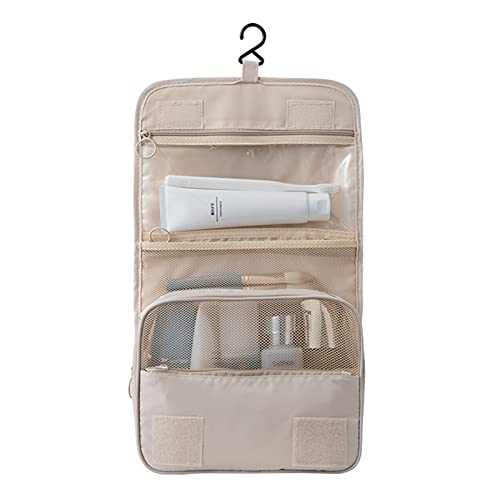 Bolsas De Aseo, Neceser Unisexo, Neceseres De Viaje Toiletry Bag Neceser Maquillaje con Gancho para Colgar Bolsa De Cosmético Impermeable Organizador De Viaje, 42X24Cm Blanco Crema