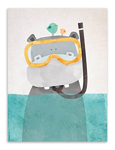 Nordique Mignon Animaux estampes Affiches Toile Polaire Ours/Hippopotame/manchot Dessin animé Wall Art Peintures Bébé Enfants Garderie décoration Sans