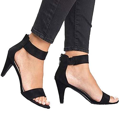 Sandalias para Mujer, Verano Punta Abierta Tacón De Aguja Correa para El Tobillo Bac-k Zi-p Sandalias De Talla Grande Zapatos De Mujer