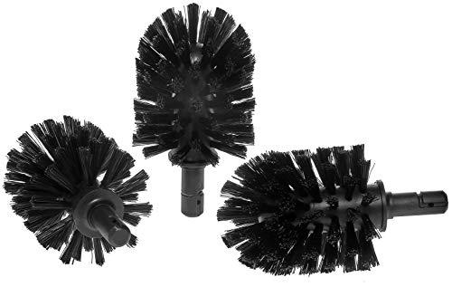 KEUCO Ersatz Toiletten-Bürstenkopf, austauschbar, im 3er Set lose, 12,7x6,7cm, schwarz, Original Hersteller, WC-Bürste Ersatzbürstenkopf