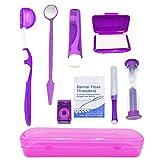 HRASY Portable Orthodontic Oral Care Kit for Braces - Interdental Brush Dental Wax Dental Floss Toothbrush Cleaning Kit(Purple)
