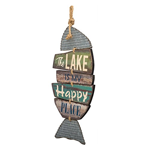 """Barnyard Designs The Lake is My Happy Place Wooden Sign Vintage Country Decor 20""""x 9"""""""
