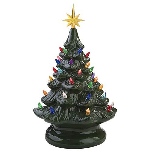 Miles Kimball 14' Retro Prelit Ceramic Tabletop Christmas Tree with 52 Multicolored Lights (Green)