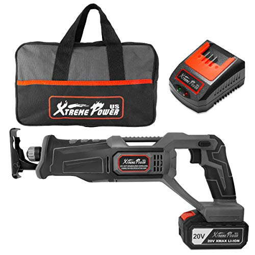 XtremepowerUS 20V Max Cordless Reciprocating Saw Battery-Powered 4.0Ah Cordless Saw Variable Speed with Tool Bag