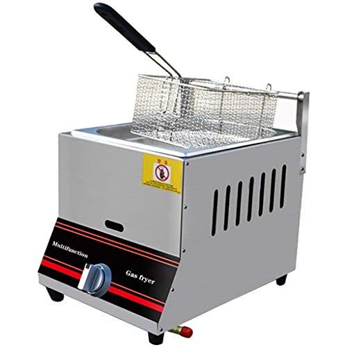 Friteuse à gaz 6L / 12L, grosse friteuse en acier inoxydable avec panier amovible, friteuses à copeaux puissance de feu réglable pour la maison et le commercial