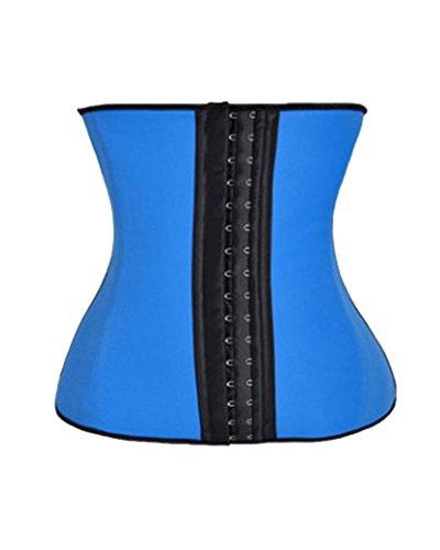 GUOCU Mujer Waist Cincher Corsé Fajas Reductoras de Cinturón Cuerpo Entrenamiento Cinturón Hebilla Cruzada Soporte de Cartílago Underbust Bustiers Corsé Azul S