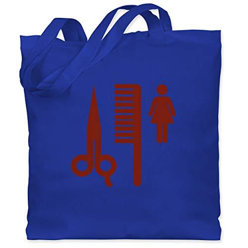 Shirtracer Handwerk - Friseurin Piktogramm rot - Unisize - Royalblau - Schere - WM101 - Stoffbeutel aus Baumwolle Jutebeutel lange Henkel