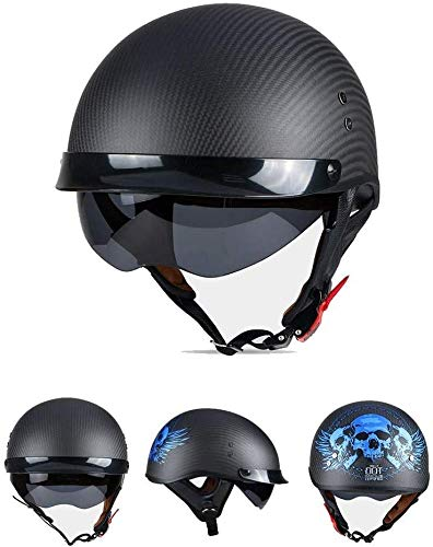 GXYS Motorradhelm DOT/ECE-geprüfter Offener Motorradhelm Mit Eingebauter Sonnenblende Retro Motorradkappe Für Crash Moped Scooter Cruiser Jet Helm Unisex,E-L=(59~60cm)