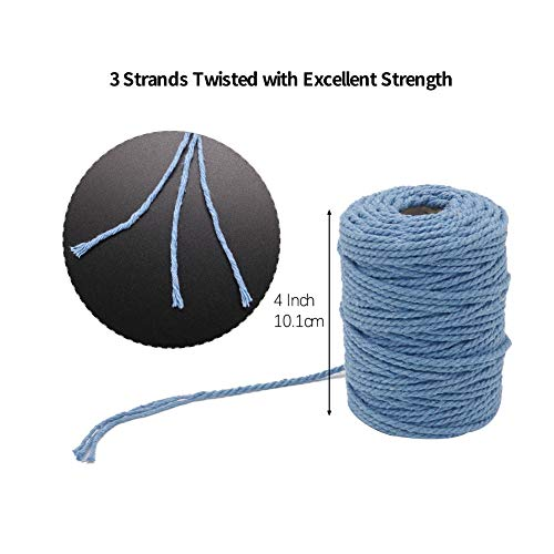 Tenn Well 4mm Macrame Cord, 165 Feet 3Ply Twisted Cotton Rope for Making Wall Hangings, Plant Hangers, Dream Catchers, Craft Projects and Decoration (White)