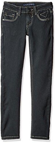 Vigoss Girls' Big 5 Pocket Skinny Jean, Beaten Black, 12