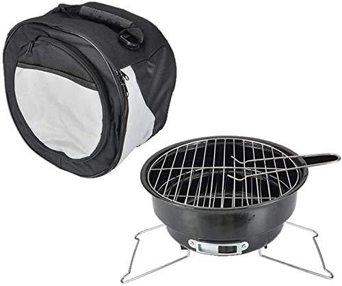 YUHT Holzkohlegrill,Picknickgrill,1-3 Personen Tragbare leichte Mini-Hochtemperatur-Rundgrill Outdoor Home Ice Bag Handtasche BBQ Kochen Camping Grill Werkzeuge Schwarz