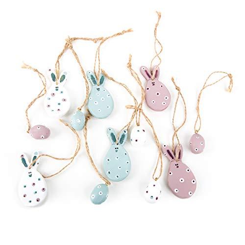 Logbuch-Verlag - Juego de 6 pequeños Conejos de Pascua + 6 Huevos de Pascua con Colgante de Conejo con Cuerda para Colgar, Color Rosa, Azul Claro y Blanco con Lunares