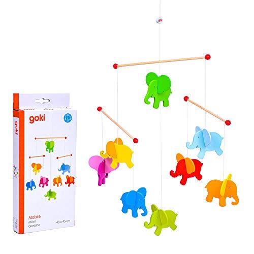Goki- Movil Elefantes Figura Madera (52904)